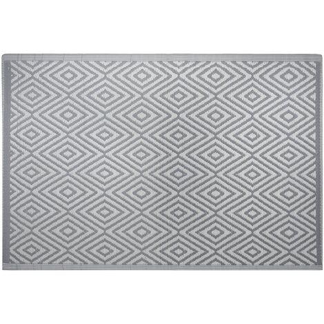 Modern Indoor Outdoor Area Rug Grey Diamond Pattern Geometric 120 x 180 cm Sikar