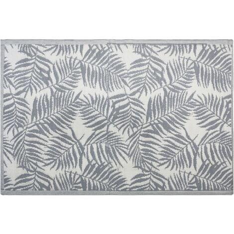 Outdoor Reversible Area Rug 120 x 180 cm Palm Leaf Pattern Dark Grey Kota