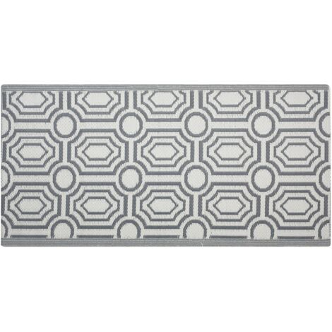 Reversible Outdoor Area Rug Mat 90 x 180 cm Modern Geometric Dark Grey Pattern Bidar
