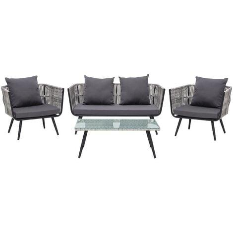 Modern 4 Piece Outdoor Conversation Set Grey Wicker Cushions Ragusa