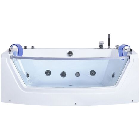 Whirlpool Double Ended Bathtub Massage Headreasts Clear Glass Panel White Fuerte