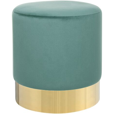 Modern Velvet Accent Pouffe Green Fabric Round Gold Base Footstool Sophia