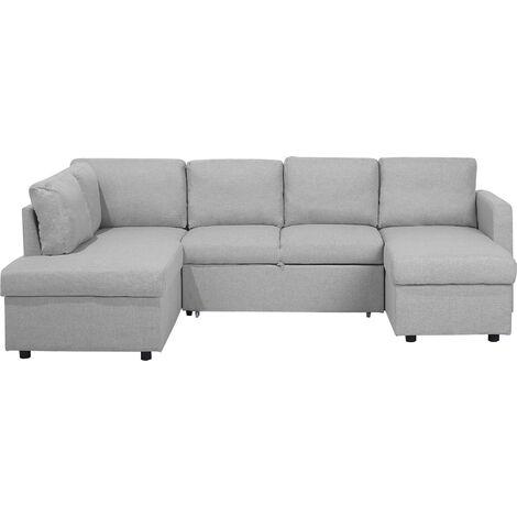 U- Shaped Modern Sofa Bed 5 Seater Storage Fabric Upholstered Light Grey Karrabo
