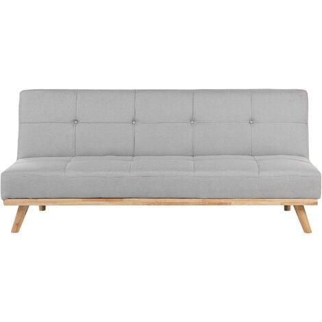 Modern Fabric Sofa Bed Armless Click-Clack Sleeper 3 Seater Light Grey Froya