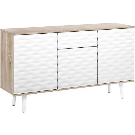 Modern Scandinavian Sideboard 2 Door Cabinet 1 Drawer Patterned Front White Swansea