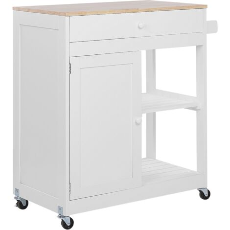 Mobile Wooden Kitchen Trolley Prep Cart with Cabinet and 2 Shelves White Trapani