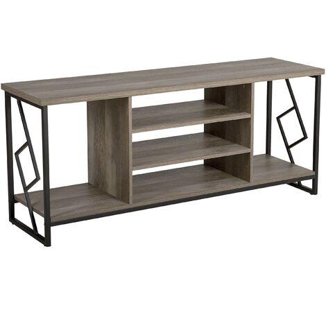 Modern Industrial TV Stand Open Shelves Dark Wood Finish Metal Frame Forres