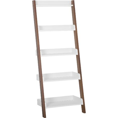 Modern Ladder Shelf 5 Tiers Leaning Bookcase Dark Wood and White Mobile Trio