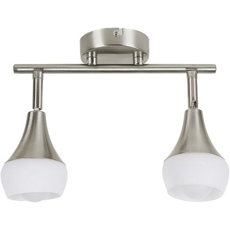 Modern Adjustable 2 Light Wall Lamp White Glass Silver Metal Bell Shade Antler