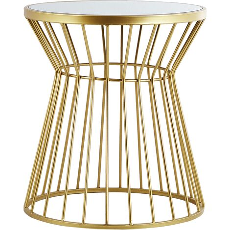 Modern Side Table Accent End Table Open Metalwork Base Mirrored Top Gold Alma