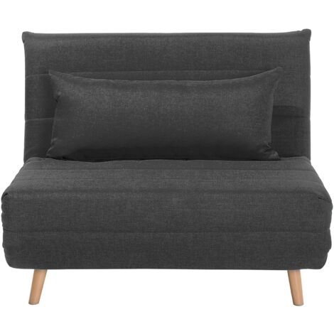 Modern 1 Seater Fabric Sofa Bed Single Living Room Dark Grey Setten