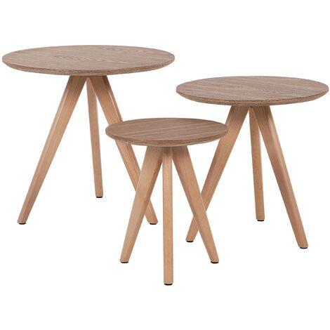 Modern 3 Piece Set Coffee Table Light Wood Effect Beech Wood Round Vegas