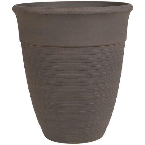 Modern Indoor Outdoor Plant Pot All-Weather Stone Mixture Brown ø50cm Katalima