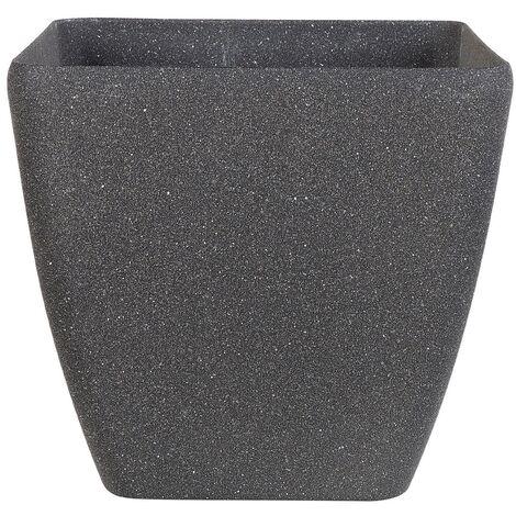 Plant Pot Grey Stone Mixture Flower Pot Square Outdoor Indoor 42 x 42 cm Zeli