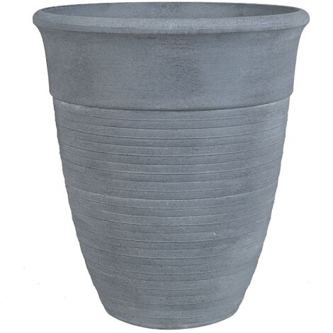Modern Indoor Outdoor Plant Pot All-Weather Stone Mixture Grey ø 50 cm Katalima