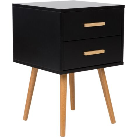 Modern Bedside Table Black 2 Drawer Storage Solid Wood Legs Side End Alabama