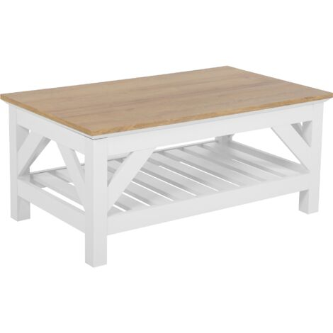 Coffee Table Rectangular Living Room White Light Wood 100 x 60 cm Savannah