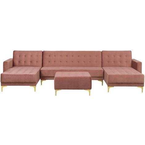 Modular U-Shaped Velvet Sofa Bed 3 Seater 2 Chaises Ottoman Pink Aberdeen