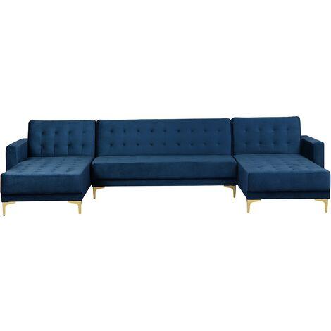 Modular U-Shaped Velvet Sofa Bed 3 Seater 2 Chaises Navy Blue Tufted Aberdeen