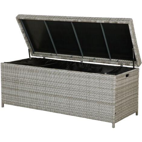 Garden Deck PE Rattan Storage Box Grey 158 x 63 cm Modena
