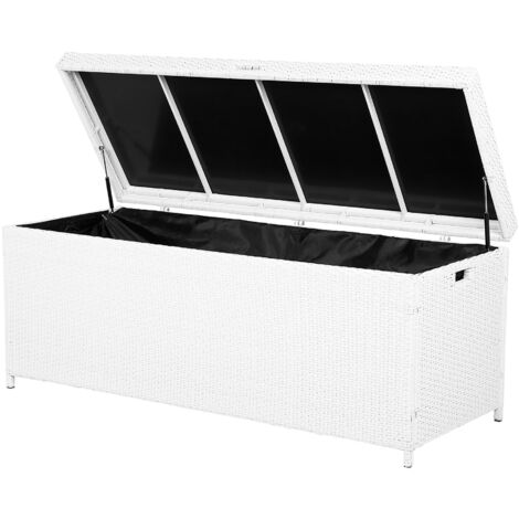 Garden Deck PE Rattan Storage Box White 158 x 63 cm Modena