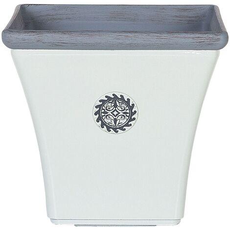 Flower Pot Outdoor Indoor Planter Stone UV Resistant 43x43x39 cm White Elateia