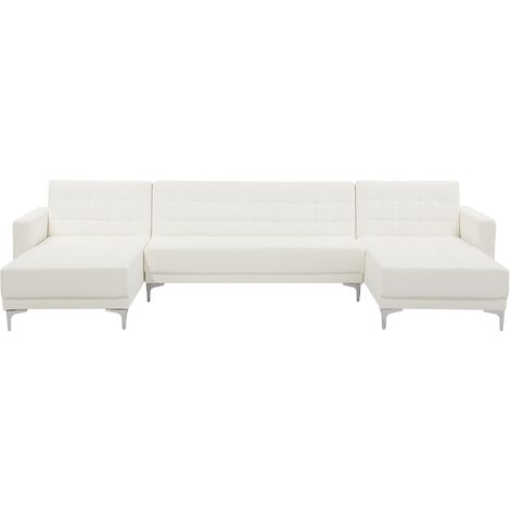 Modular U-Shaped Sofa Bed 3 Seater 2 Chaises White PU Leather Tufted Aberdeen