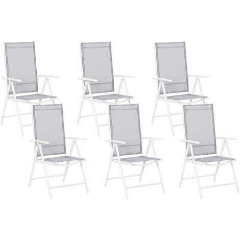 Set of 6 Garden Chairs Grey Aluminium Frame Folding Reclining Catania