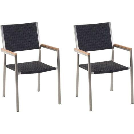 Set of 2 Modern Outdoor Garden Dining Chairs PE Rattan Steel Black Grosseto