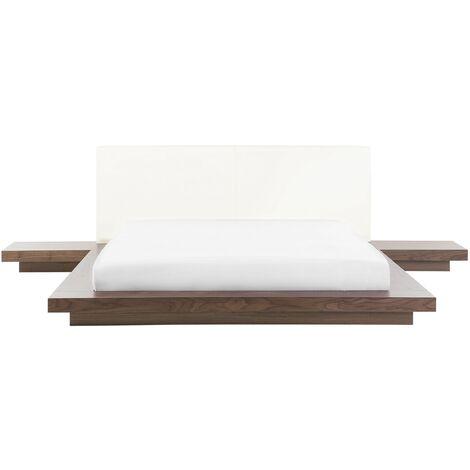 Modern EU King Size Platform Bed 5ft3 Side Tables Brown Zen