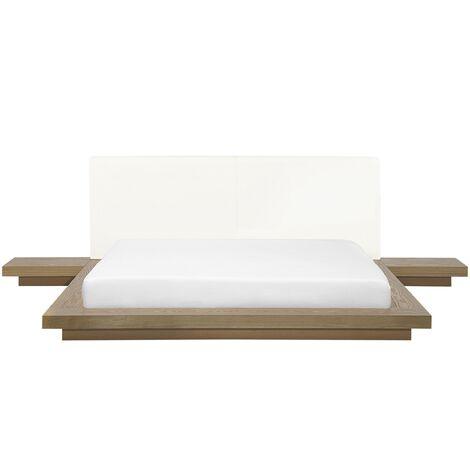 Modern EU King Size Platform Bed 5ft3 Side Tables Light Wood Zen