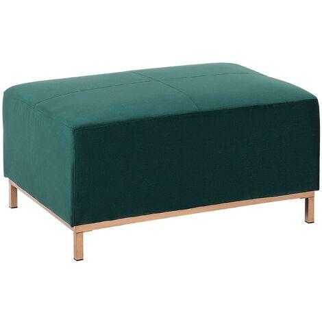 Modern Living Rom Emerald Green Velvet Ottoman Gold Stainless Steel Legs Oslo