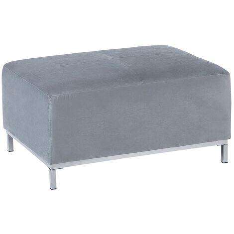 Modern Living Room Light Grey Velvet Ottoman Silver Stainless Steel Legs Oslo