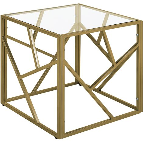Glass Top Side Table Gold ORLAND