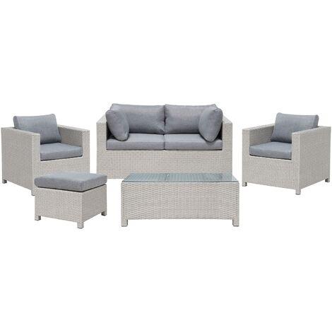 Wicker Faux Rattan 5pc Garden Sofa Set 2 Seater Patio Dark Grey Milano