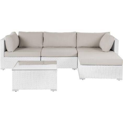 Garden Sectional Sofa w/ Coffee Table White Faux Rattan Beige Cushions Sano