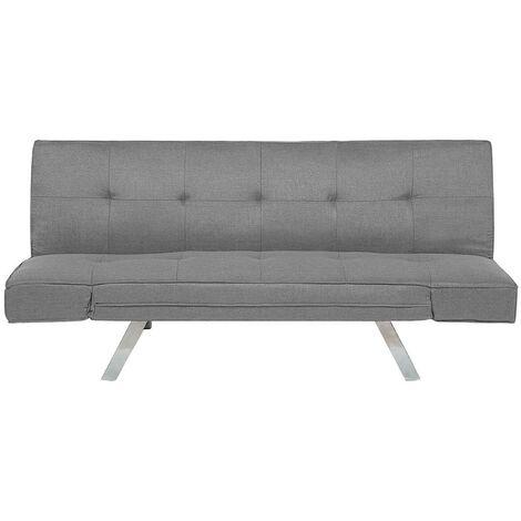 Sleeper Sofa 3 Seater Adjustable Armrests Upholstered Fabric Light Grey Bristol