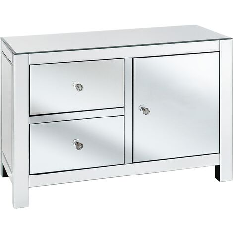 Modern Glam Mirrored Sideboard Chest of Drawers Crystal Knobs Silver Lens