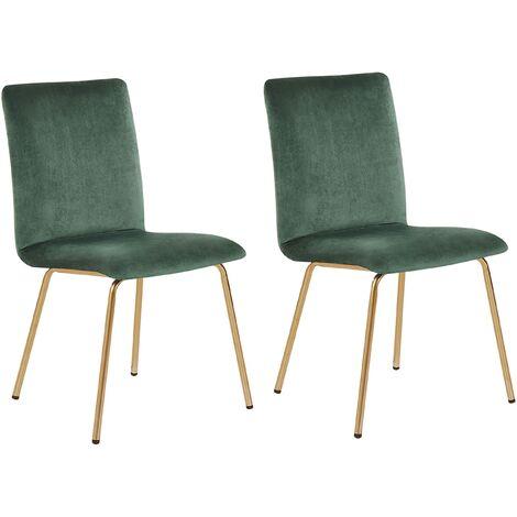 Modern Set of 2 Velvet Dining Chairs Armless Gold Metal Legs Green Rubio