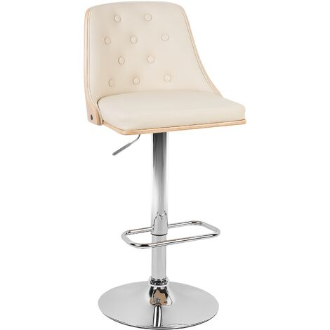 Faux Leather Swivel Bar Stool Beige VANCOUVER