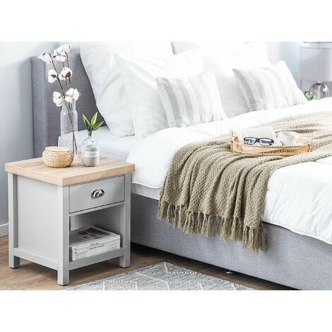 1 Drawer Bedside Table Grey with Light Wood CLIO