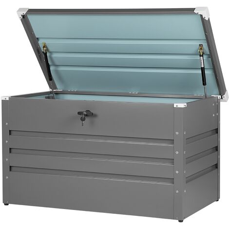Garden Storage Box Grey Steel Lockable Lid 400L Cebrosa