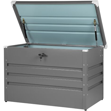 Garden Storage Box Grey Steel Lockable Lid 300L Cebrosa