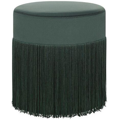 Modern Decorative Pouffe with Tassels Round Dark Green Boho Ottoman Virginia