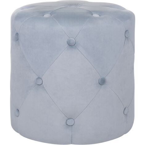 Modern Decorative Round Tufted Pouffe Living Room Footstool Light Grey Corolla