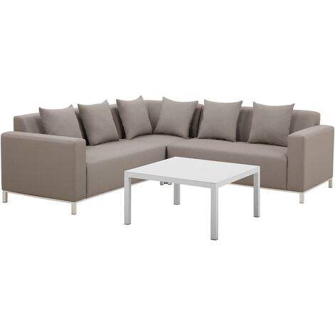 Modern Garden Lounge Set 5-Seater with Table and Cushions Polyester Beige Belize