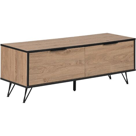 Modern TV Stand Metal Legs with Storage Cabinets Light Wood Halston