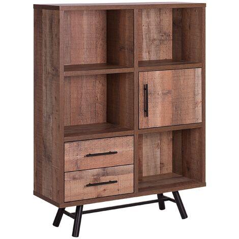 Minimalist Bookcase Bookshelf Storage Unit Drawers Light Wood Metal Legs Atlanta