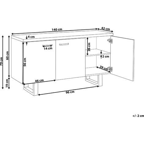 Modern 3 Door Sideboard Light Wood Storage Cabinets Metal Grey Base Timber