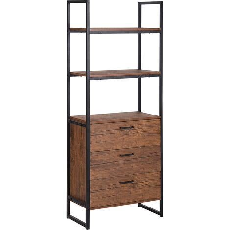 Modern Bookcase 3 Tier 3 Drawers Shelf Cabinet Dark Wood Black Frame Tifton